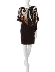 R & M Richards Taupe / Black Evening & Formal Sweater Dresses