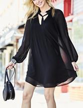 Signature Studio Pleated Black Tie Neck Dress