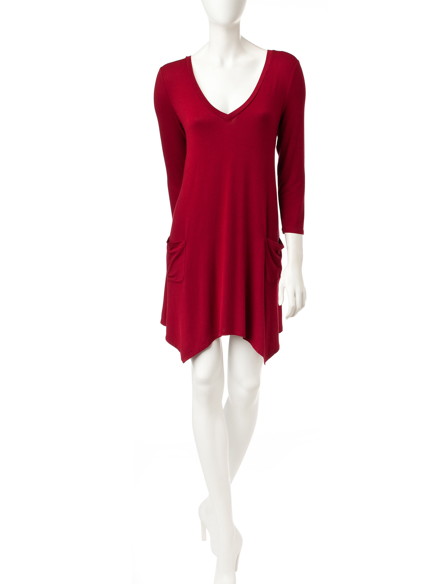 Trixxi Cranberry Shift Dresses