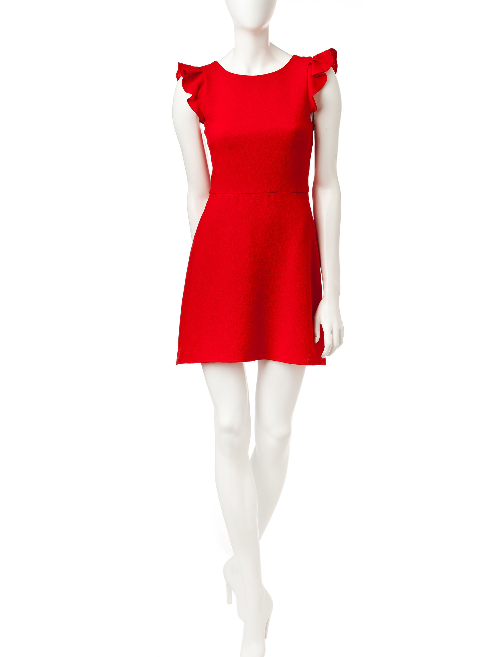 Speechless Red Fit & Flare Dresses