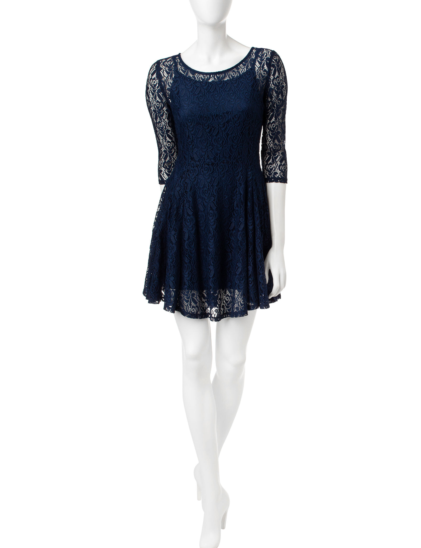 BeBop Navy Fit & Flare Dresses