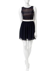 Speechless Blue Fit & Flare Dresses