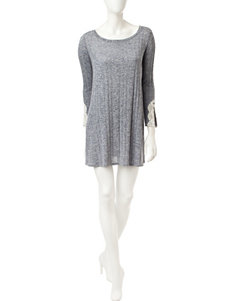 My Michelle Heather Grey Lace Knit Dress