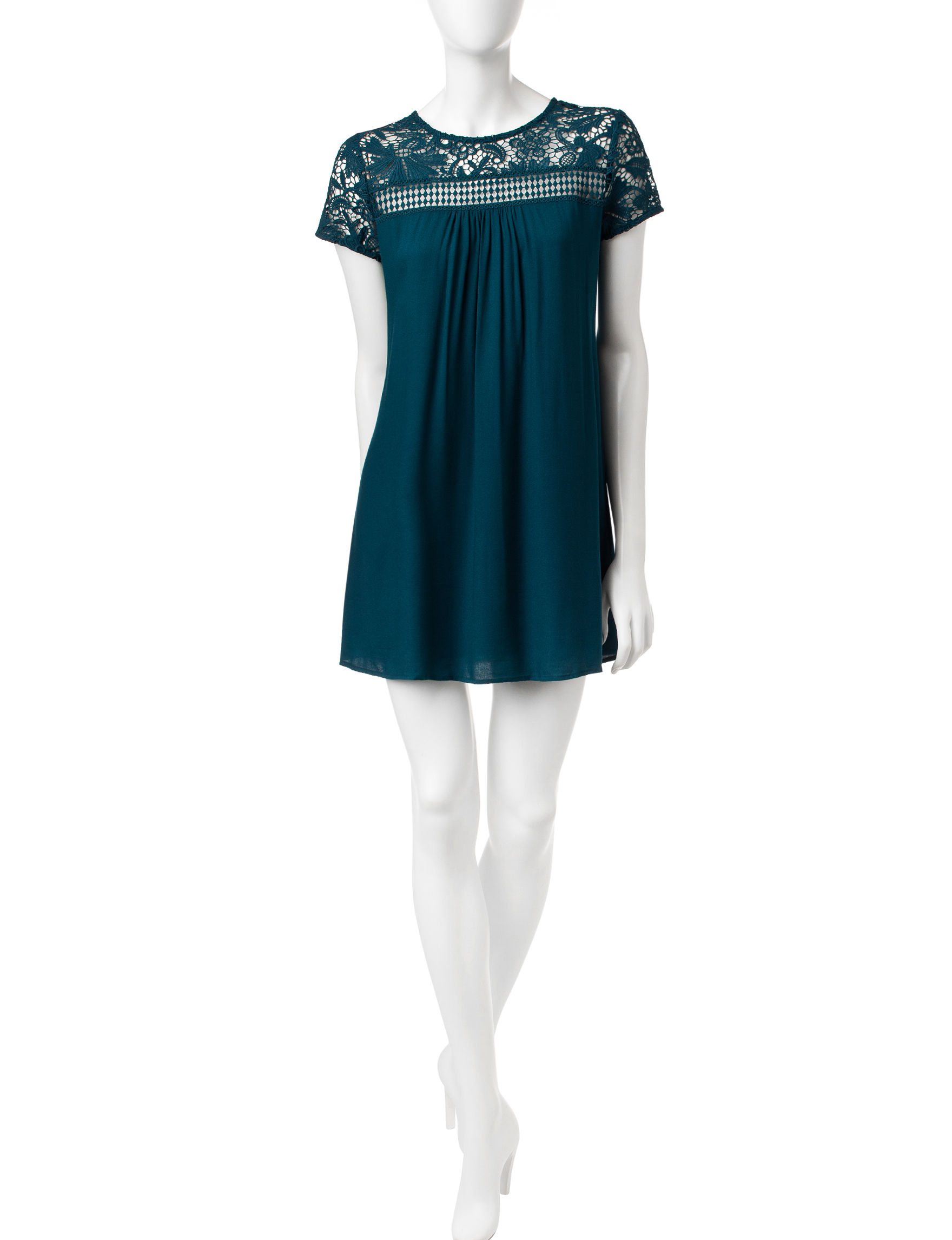 Trixxi Teal Shift Dresses