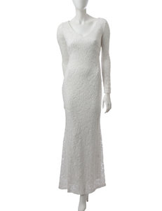 Marina Ivory Lace Sequin Gown