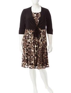 Perceptions 2-pc. Plus-size Cheetah Print Dress & Black Jacket Set