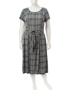 Perceptions Plus-size Multicolor Houndstooth Belted Dress