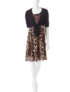 Perceptions Black/Brown Evening & Formal Sheath Dresses Shift Dresses