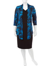 Connected Plus-size Blue & Black Floral Jacket Dress