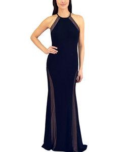 Morgan & Co. Black Side Mesh Gown