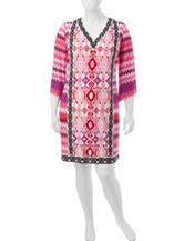 London Times Plus-size Multicolor Chevron Print Shift Dress