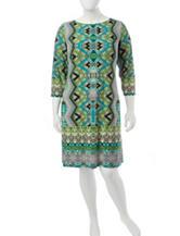 London Times Plus-size Multicolor Geometric Print Shift Dress