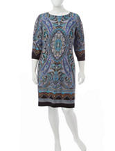 London Times Plus-size Multicolor Paisley Print Shift Dress