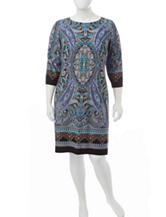 London Times Plus-size Multicolor Paisley Print Shift Dress
