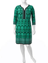 London Times Plus-size Multicolor Tribal Print Shift Dress