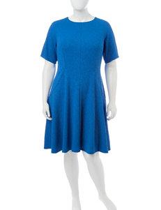 London Times Plus-size Blue Texture Dress