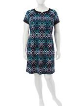 London Times Plus-size Multicolor Geometric Print Dress