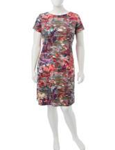 London Times Plus-size Multicolor Striated Print Dress