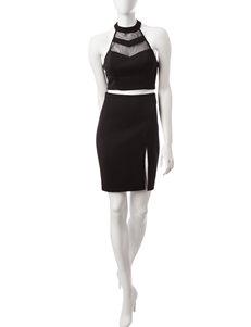 My Michelle 2-pc. Black Top & Skirt