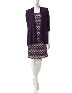 R & M Richards Wine Everyday & Casual Jacket Dresses