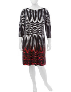 London Times Black / Red Everyday & Casual Shift Dresses