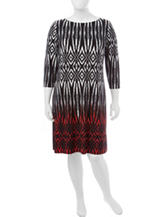 London Times Plus-size Multicolor Tribal Print Dress