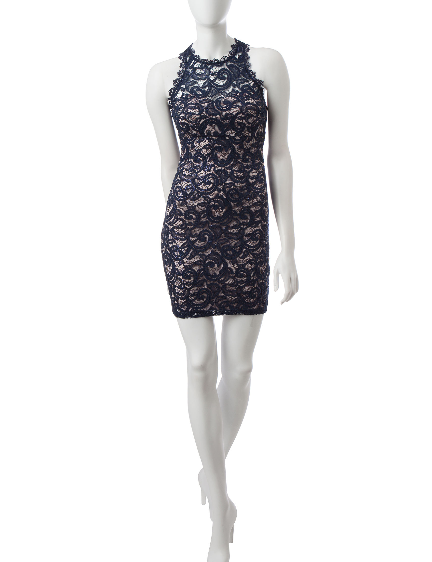 my michelle navy lace sheath dress stage stores