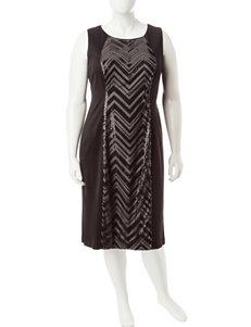 R & M Richards Plus-size Black Sequin Panel Dress
