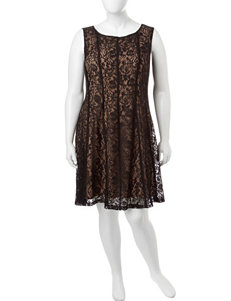 Connected Plus-size Black Lace Overlay Dress