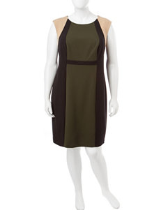 Connected Olive / Black Everyday & Casual Sheath Dresses
