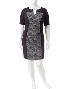 Connected Plus-size Color Block Sheath Dress