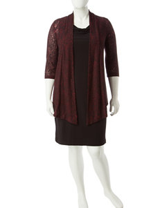 Connected 2-pc. Plus-size Marled Lace Jacket & Dress Set