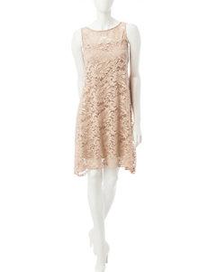 Robbie Bee Beige Lace Swing Dress