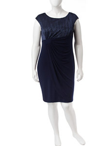 Connected Plus-size Navy Beaded Ruched Dress
