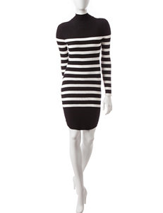 Almost Famous Black / White Everyday & Casual Sweater Dresses