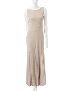 Sangria Blush Glitter Knit Godet Hem Dress