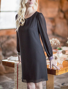 A. Byer Black Chiffon Shift Dress