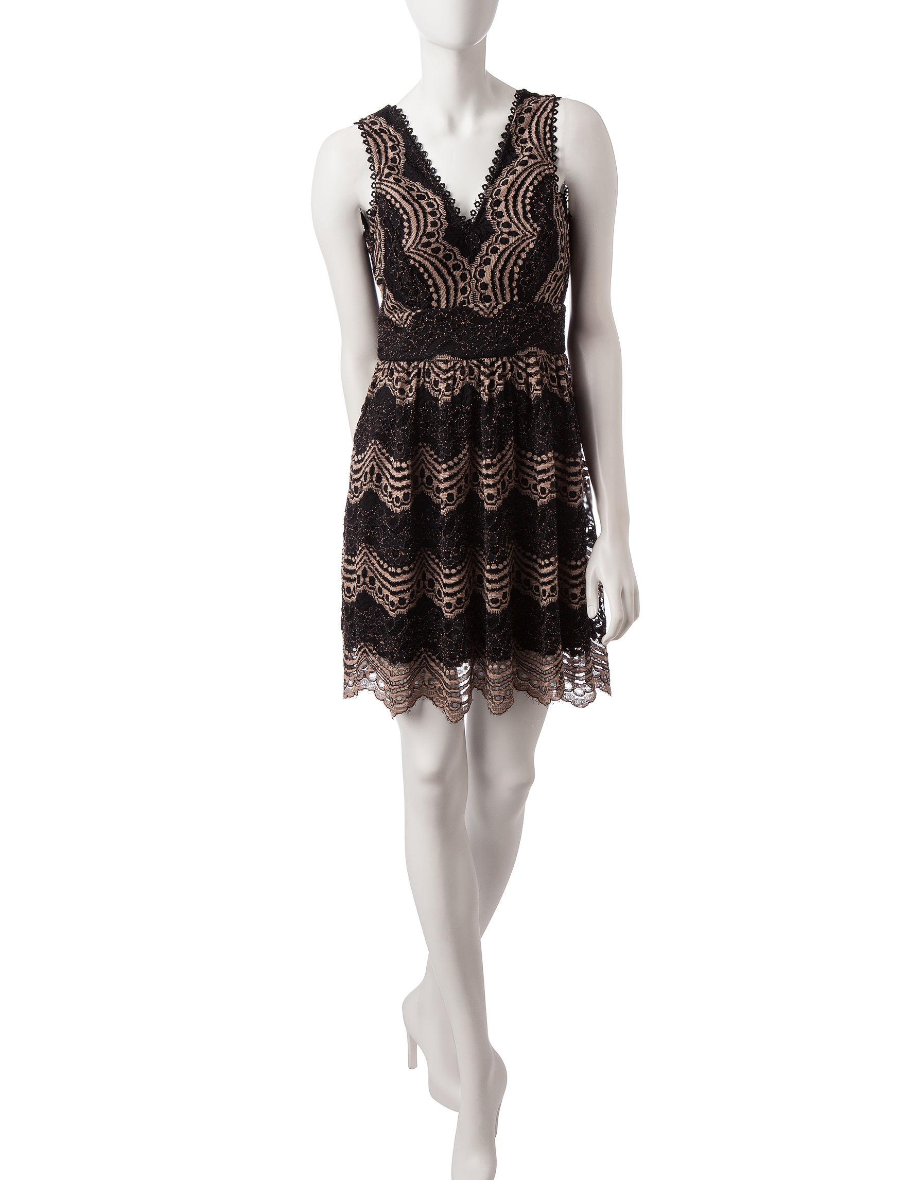 trim black amp tan lace dress stage stores