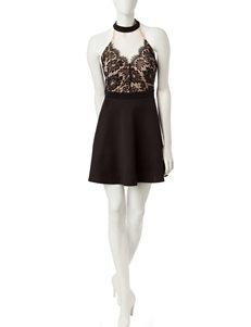 Trixxi Black & White Lace Detail Skater Dress