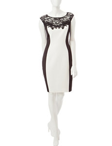Sangria Black / Ivory Cocktail & Party Sheath Dresses