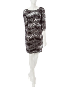 Sangria Silver & Black Diamond Print Sequin Dress