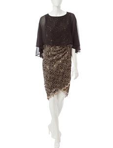 Sangria Black & Gold Sequin Dress