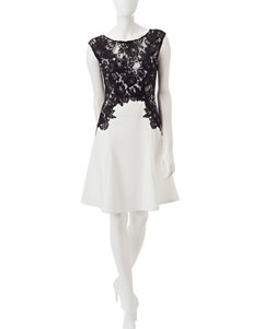 Sangria Black & White Lace Overlay Dress