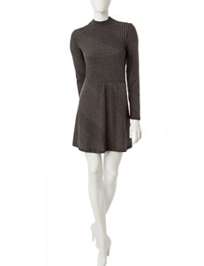 Trixxi Gray Everyday & Casual Fit & Flare Dresses Sweater Dresses