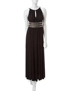 R & M Richards Black Beaded Waist Halter Dress