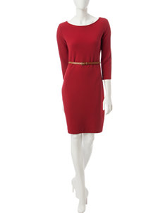 Sharagano Red Ribbed Knit Belted Dress