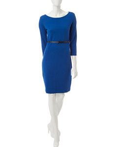 Sharagano Blue Ribbed Knit Belted Dress