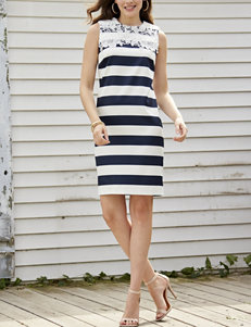 Madison Leigh Lace Yoke Stripe Shift Dress