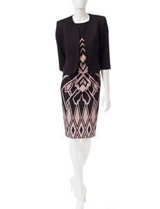 Dana Kay 2-pc. Black Jacket & Geo Print Dress
