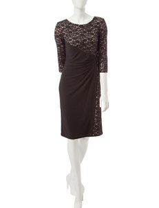 R&M Richards Black & Tan Lace Overlay Empire Waist Dress